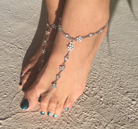 Bridal Barefoot Sandals bridesmaids Foot Jewelry wedding Shoes