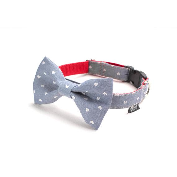 Свадьба - Dog Bow Tie - White Hearts on Denim Blue