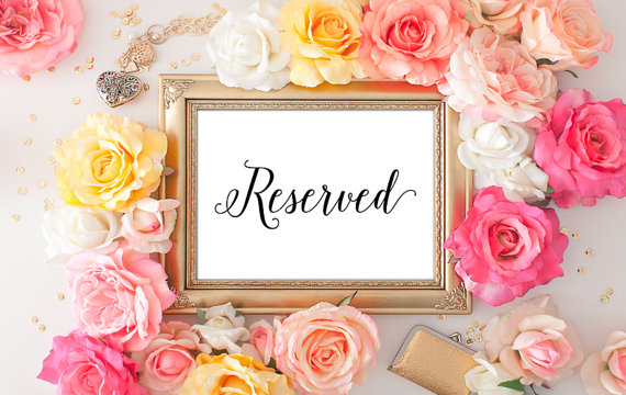 75 Off Wedding Reserved Printable 5x7 Decor Table Sign Script Font