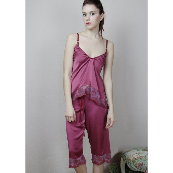 Свадьба - stretch silk pajama pants with cotton embroidered lace trim - made to order