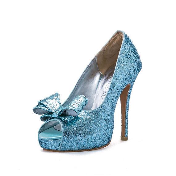 ef34a3831540 Custom Made Robbin Blue Satin Glitter Pumps. Blue Bridal Heels. Blue Glitter  Wedding Shoes. Custom Made Shoes with Glitter Bow