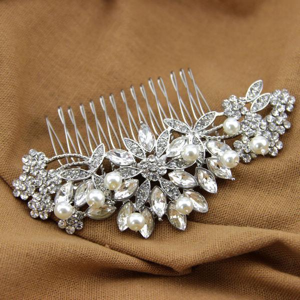 Handmade Crystal Bridal Hair Comb Wired Pearl Headpiece Rhinestone