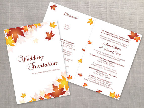 diy printable wedding folded invitation card template 2355346