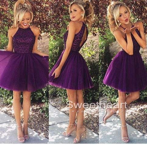 Hochzeit - Purple sequin Tulle Short Prom Dress, Homecoming Dresse from Sweetheart Girl