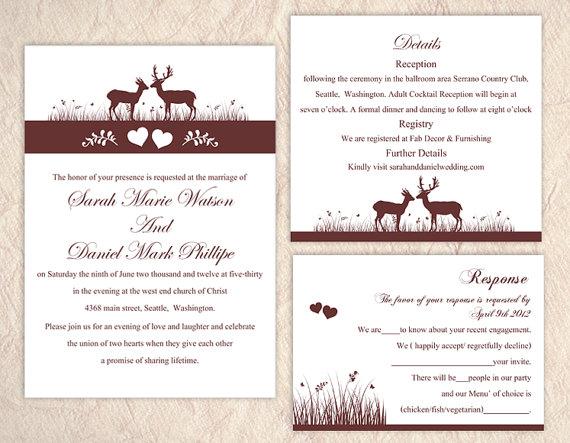 DIY Wedding Invitation Template Set Editable Text Word File - Camo wedding invitations templates