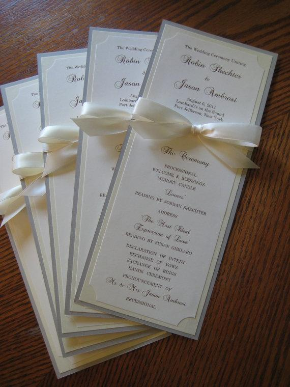 wedding program in custom colors fonts double sided with ribbon