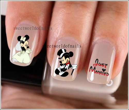 Nail Art Nail Water Decals Just Married Mickey And Minnie Mouse