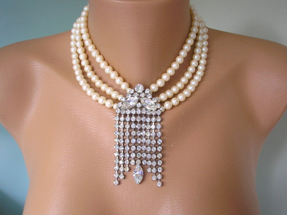 Great Gatsby Necklace Pearl Bridal Choker Statement Necklace