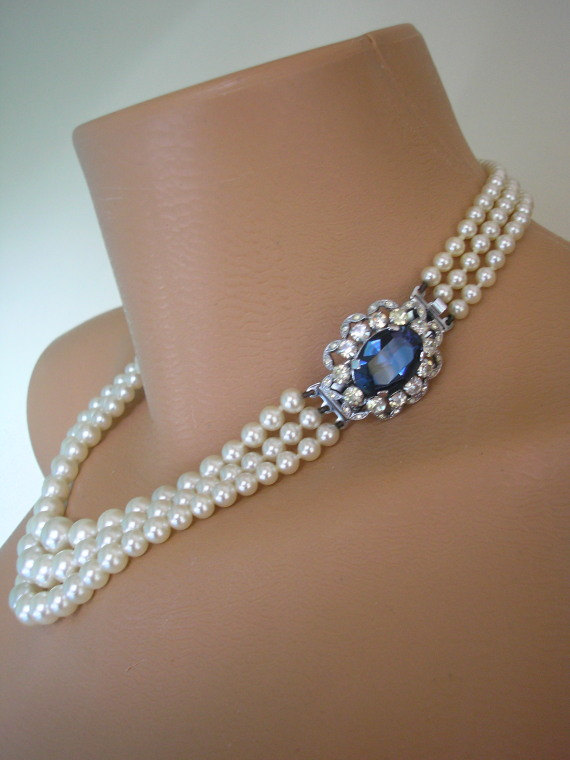 SAPPHIRE Necklace Statement Sapphire Choker Pearl Great Gatsby Jewelry Bridal Mother Of The Bride