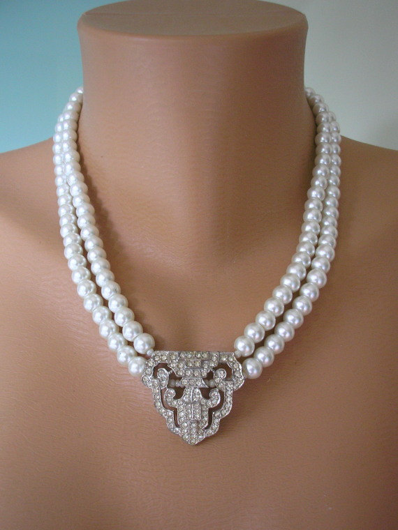 Art Deco Jewelry Great Gatsby Pearl Necklace Mother Of The Bride Wedding Bridal Sphinx