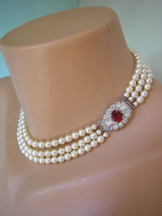 RUBY Bridal Choker Pearl Necklace Mother Of The Bride Jewelry Great Gatsby Wedding And Ruby