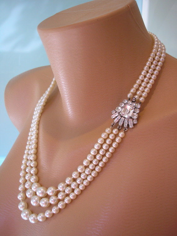 Mariage - Long Pearl Necklace, Pearl Choker, Great Gatsby Jewelry, Art Deco, Pearl And Rhinestone, Vintage Bridal, Gatsby Pearls, Bridal Pearls