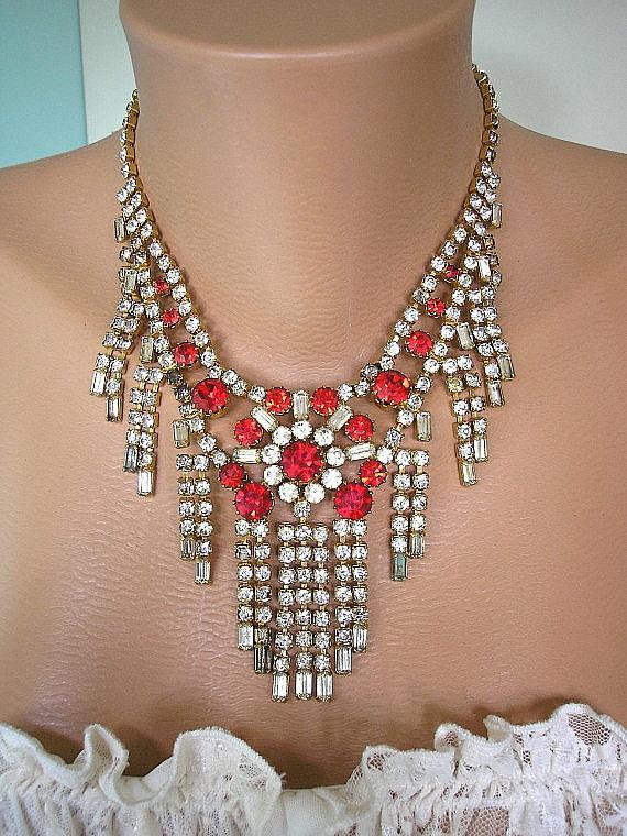 Mariage - Great Gatsby Jewelry Art Deco Jewelry Wedding Jewelry Red Rhinestone Necklace Red Bridal Necklace Red Choker Diamante Choker Ruby Red