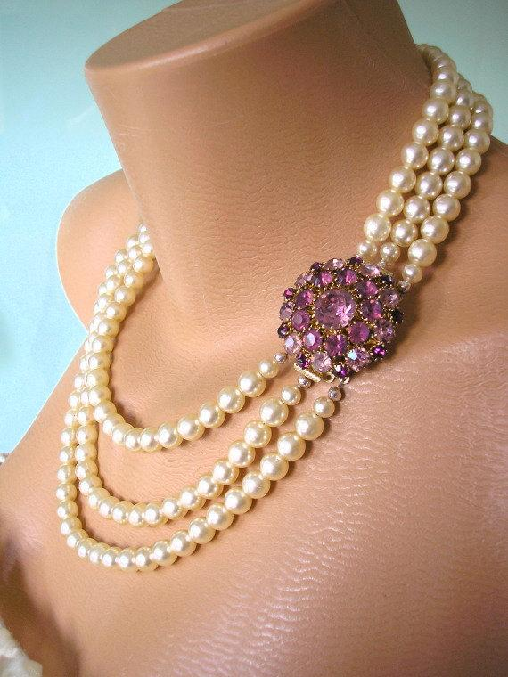AMETHYST Necklace Pearl Choker Mother Of The Bride Great Gatsby Jewelry Statement Collar Wedding Bridal Deco