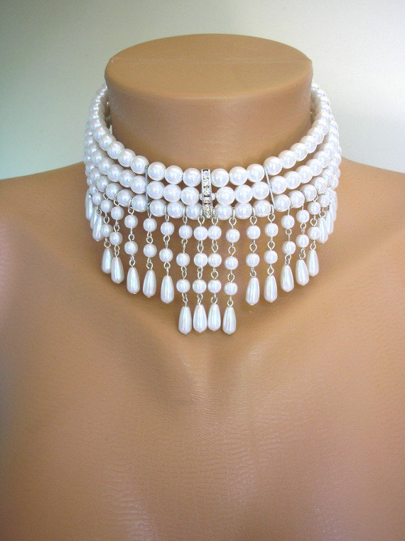 Wedding - White Pearl Choker, Bridal Necklace, Great Gatsby, Bridal Set, Pearl Necklace, Pearl Collar, Backdrop Necklace, Art Deco, Bridal Jewelry