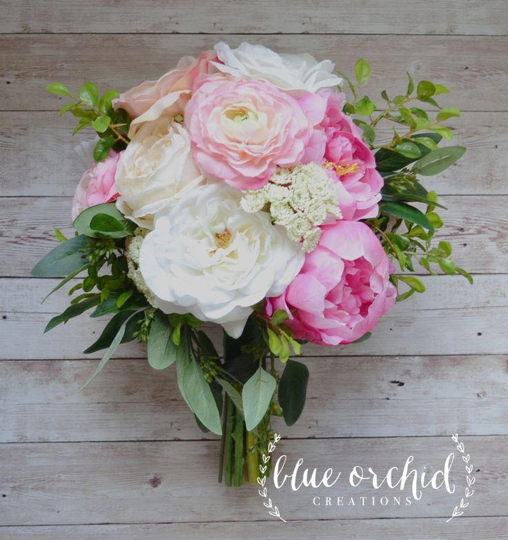 silk wedding bouquet with pink and cream peonies ranunculus cabbage roses garden roses and greenery bridal bouquet - Garden Rose And Peony Bouquet