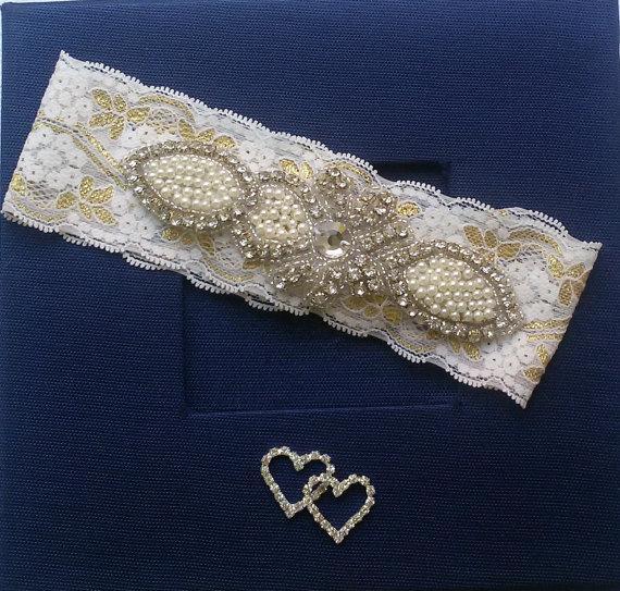 Hochzeit - Wedding Garter Set , Ivory Lace Garter Set, Bridal Leg Garter, Wedding Garters, Bridal Accessory, Rhinestone Crystal Bridal Garter