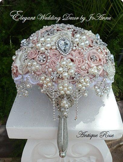 Свадьба - Antique Pink Jeweled Wedding Bouquet- DEPOSIT For A Gorgeous Antique Pink Vintage Inspired Brooch Bouquet, Brooch Bouquet, Full Price 450