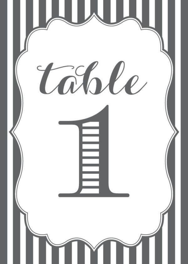 زفاف - Free Wedding Table Numbers Printable