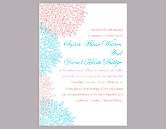 Tiffany Blue And Red Wedding Invitations: DIY Wedding Invitation Template Editable Text Word File