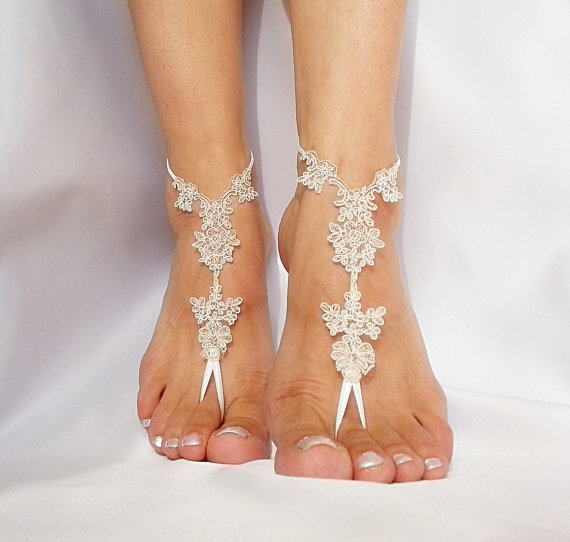 Mariage - bridal anklet, raw slik color ivory frame Beach wedding barefoot sandals, bangle, wedding anklet, free ship, anklet, bridal, wedding