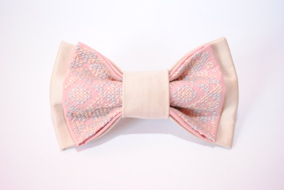 Embroidered Pink Pearl Blush Bowtie Men S Bowtie Gift Ideas For Him
