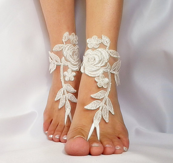 Boda - bridal anklet, ivory Beach wedding barefoot sandals, bangle, wedding anklet, free ship, anklet, bridal, wedding