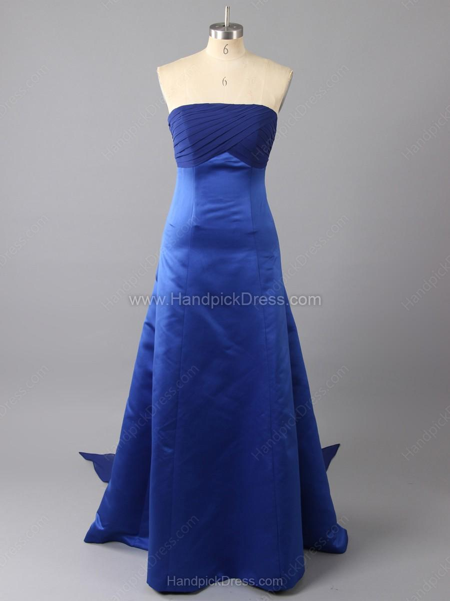 Wedding - A-line Strapless Satin Ruched Floor-length Bridesmaid Dresses
