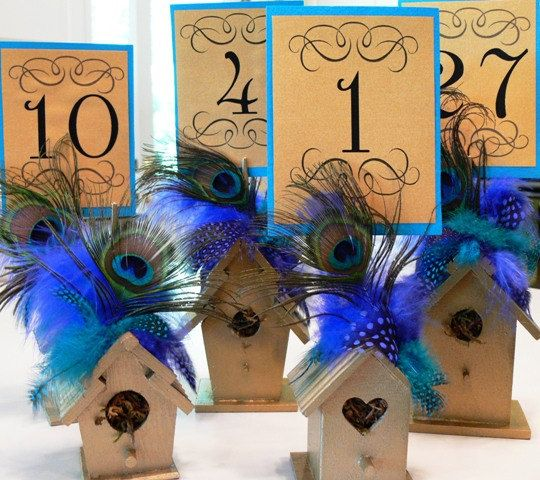 Mariage - Table Number Holders Wooden Birdhouse With Choice Of Colors, Flowers, Peacock, And Coordinating Feathers