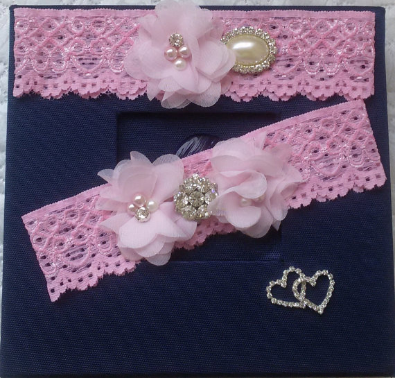 Wedding - Wedding leg garter set ,Wedding Garters, Bridal accessoary, Pink wedding garter set, Chiffon Flower Rhinestone Lace Garters