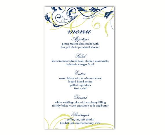 Mariage - Wedding Menu Template DIY Menu Card Template Editable Text Word File Download Navy Blue Menu Floral Menu Template Printable Menu 4 x 7inches