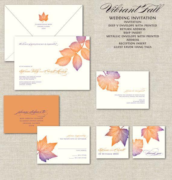 Wedding - Fall Leaves Wedding Invitations, Calligraphy Wedding Invitation, Invites, Vibrant Purple & Burnt Orange, Autumn, Leaves, Leaf, Oak, Linen