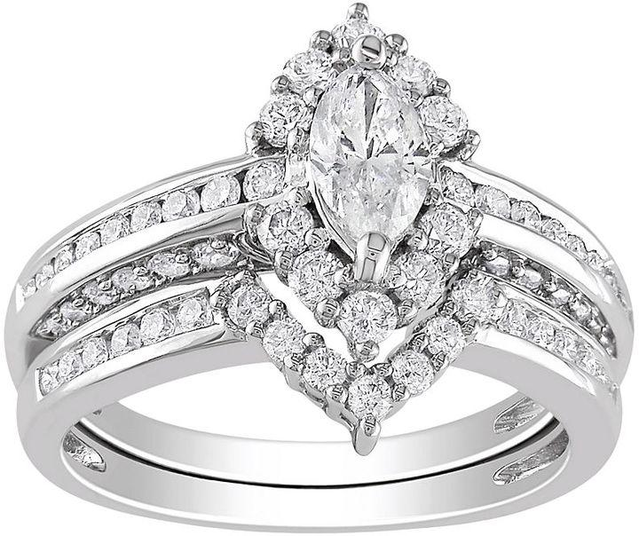 d3574e1304 Marquise-Cut IGL Certified Diamond Engagement Ring Set in 14k White Gold (1  4/9 ct. T.W.)