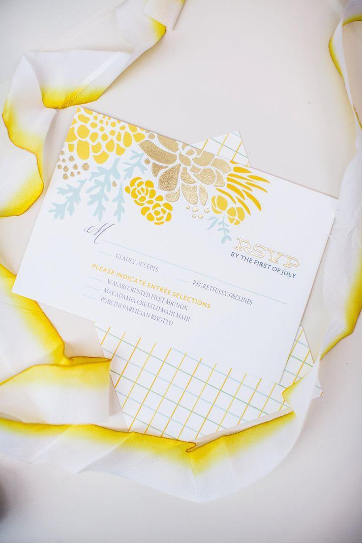 زفاف - Winsome Blooms - Signature Foil Wedding Response Cards In Mustard Or Hydrangea