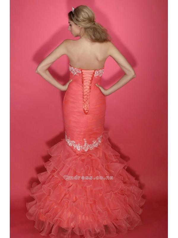 Wedding - Dramatic Mermaid Strapless Floor-length Organza Evening DressSKU: STM0108-TB