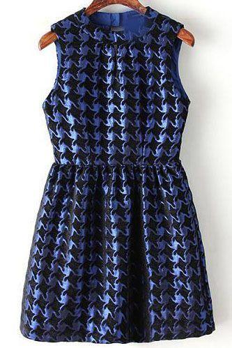 Blue Sleeveless Houndstooth Slim Tank Dress