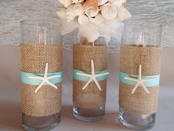 burlap beach vase centerpieces nautical coastal wedding centerpiece