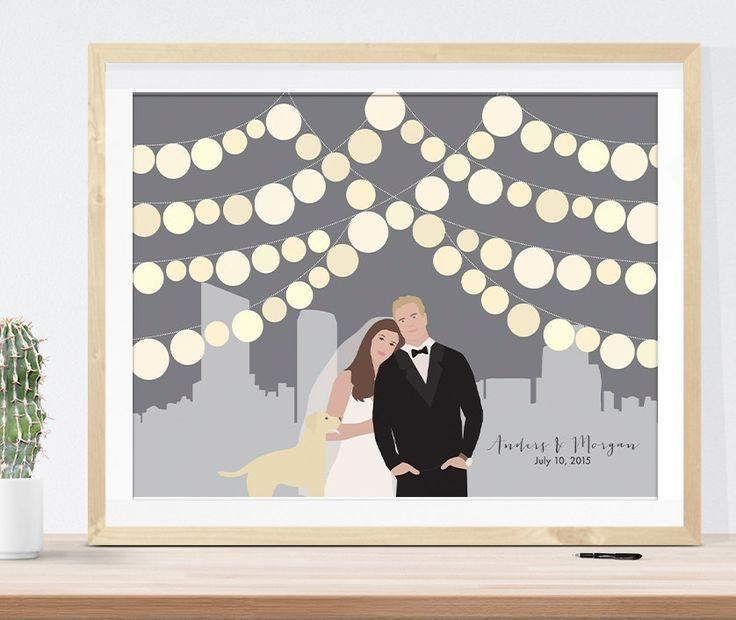 Wedding Guest Book Alternative City Skyline Paper Lanterns Unique Guestbook Idea