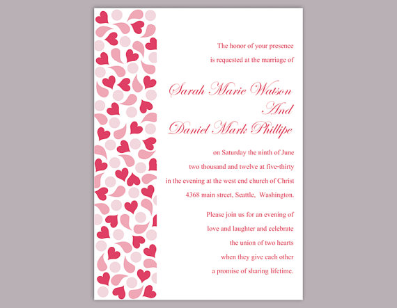 DIY Wedding Invitation Template Editable Text Word File Download – Pink and Red Wedding Invitations