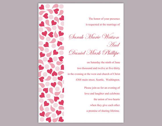Свадьба - DIY Wedding Invitation Template Editable Text Word File Download Red Wedding Invitation Heart Invitation Printable Pink Invitation
