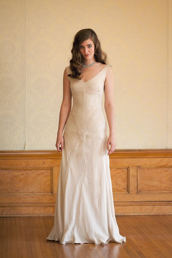 Wedding - Wedding Dress In Shimmery Silk Chiffon Lamé - Vintage Inspired Low Back Handmade Gown - Stardust
