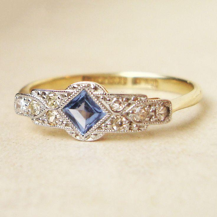 Wedding - One Of A Kind Art Deco Sapphire & Diamond Engagement Ring, Antique Sapphire Platinum And 18k Gold Ring, Approximate Size US 7.25