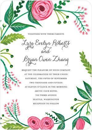 Garden gala signature white textured wedding invitations for Garden wedding invitation designs