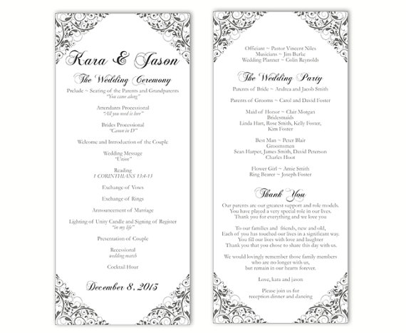 Wedding program template diy editable text word file download wedding program template diy editable text word file download program gray silver program floral program printable wedding program 4x925 pronofoot35fo Images