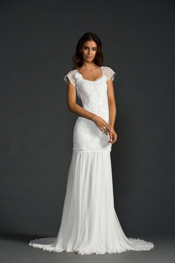 Stunning Low Back Lace Wedding Dress With Ced Sleeves And Dreamy Silk Chiffon Skirt