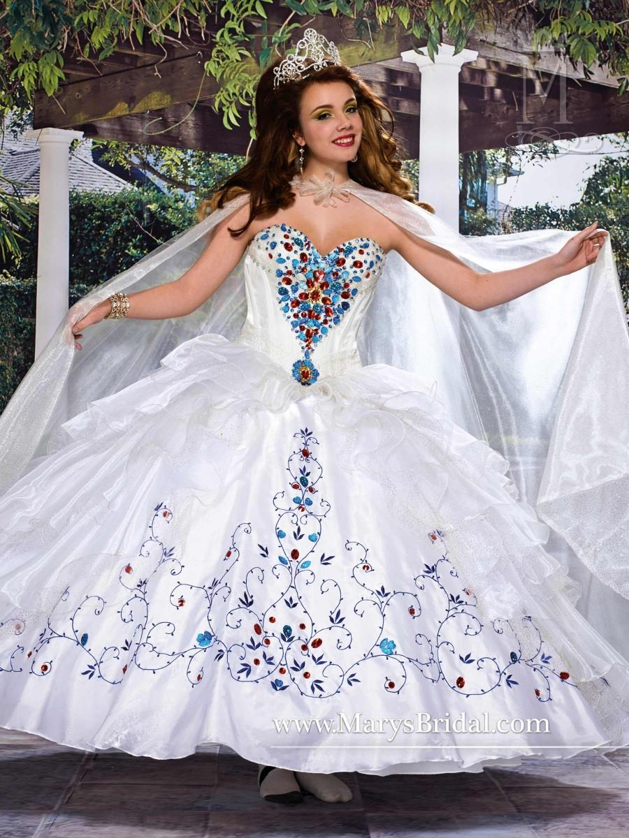 Sparky 2015 Dignity White Quinceanera Dresses Waist Ruffles Cloak ...