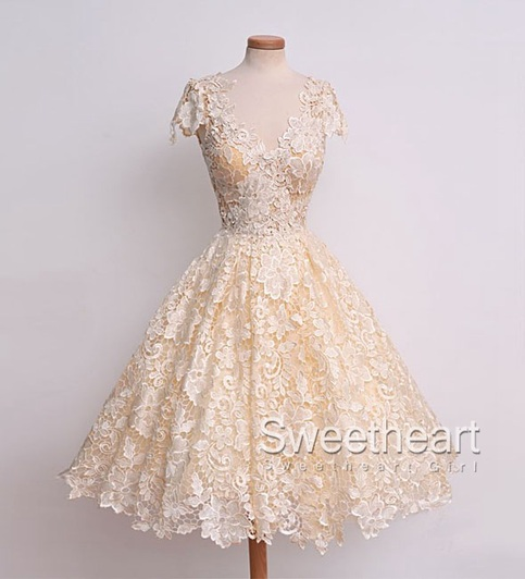 Wedding - Lace V Neck Short Prom Dress, Homecoming Dress from Sweetheart Girl