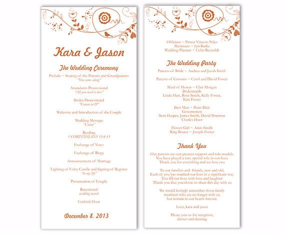 "زفاف - Wedding Program Template DIY Editable Text Word File Download Program Orange Program Bird Floral Program Printable Wedding Program 4x9.25"""