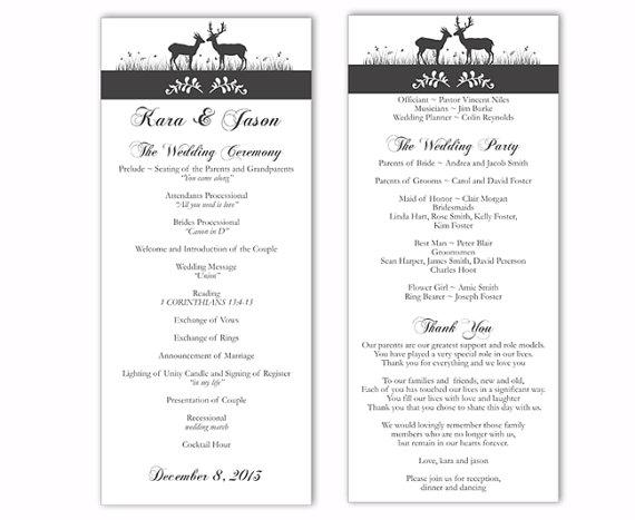 Mariage - Wedding Program Template DIY Editable Text Word File Download Program Gray Wedding Program Black Program Printable Wedding Program 4x9.25