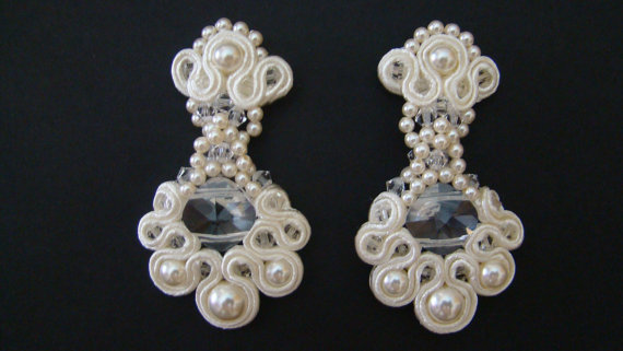 Hochzeit - Bridal Earrings Chandelier Wedding Earrings Pearl Bridal Earrings